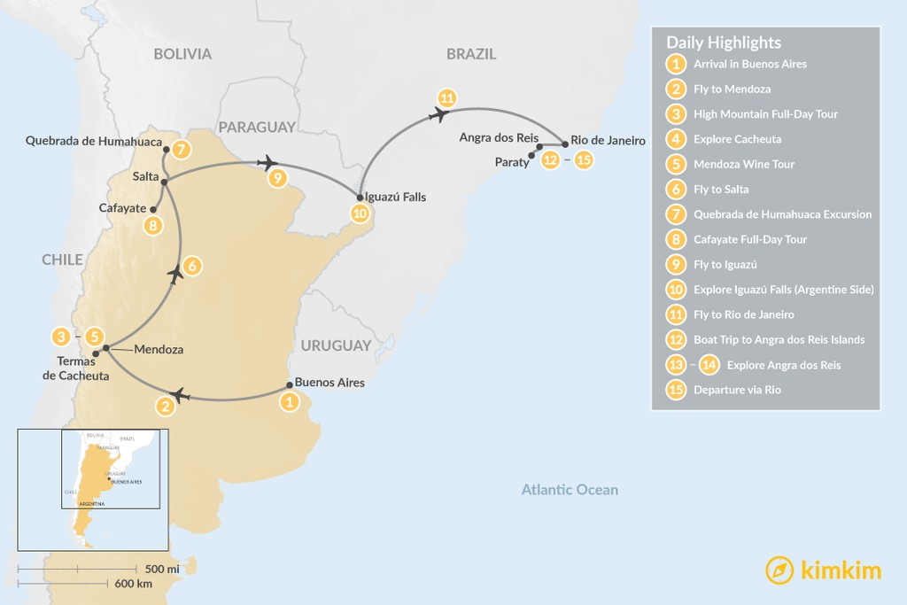Map of Romantic Honeymoon in Argentina & Brazil - 15 Days