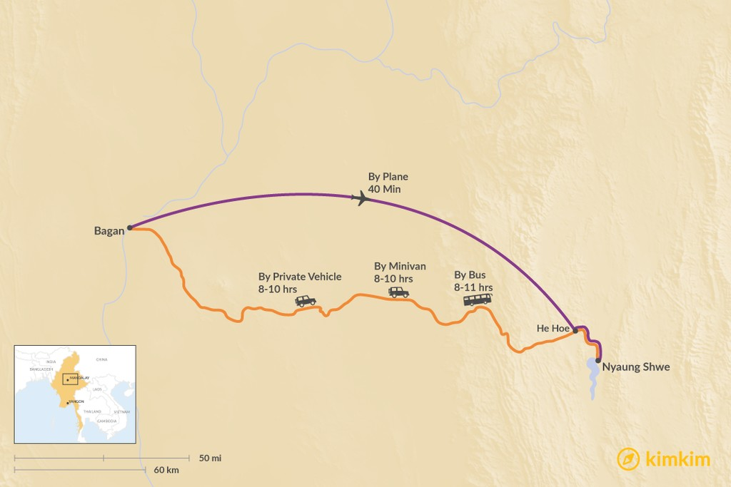Map of How to Get from Bagan to Nyaung Shwe