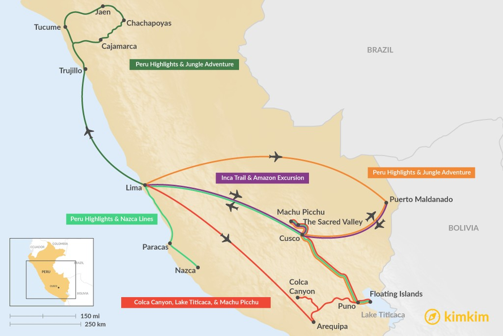Map of 11 Days in Peru - 5 Unique Itinerary Ideas
