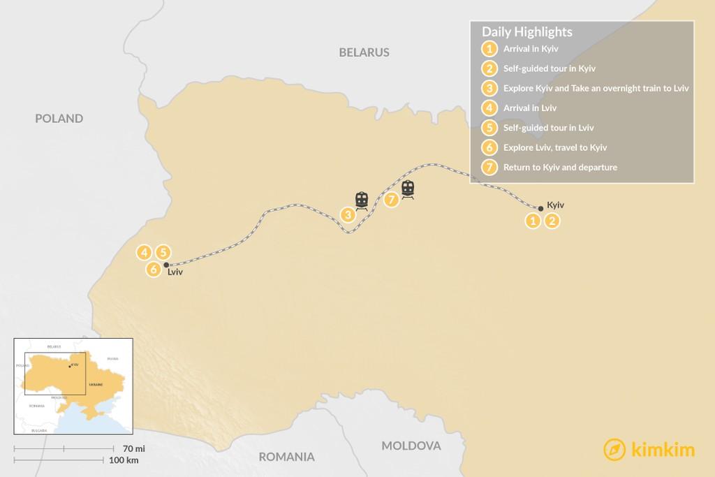 Map of Ukraine Self-Guided Tour: Kyiv & Lviv - 7 Days