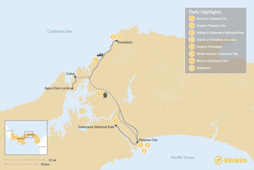 Map of Panama History & Nature Tour - 8 Days