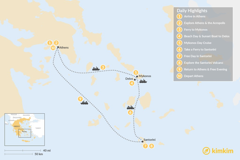 Map of Greek Hotspots in Athens, Mykonos & Santorini - 10 Days