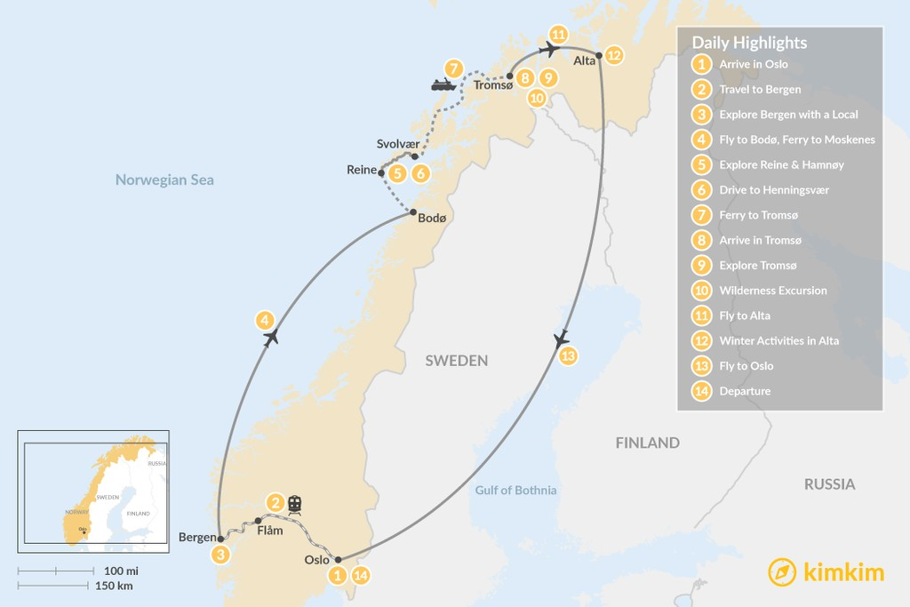 Map of Ultimate Winter Tour in Norway's Arctic - 14 Days
