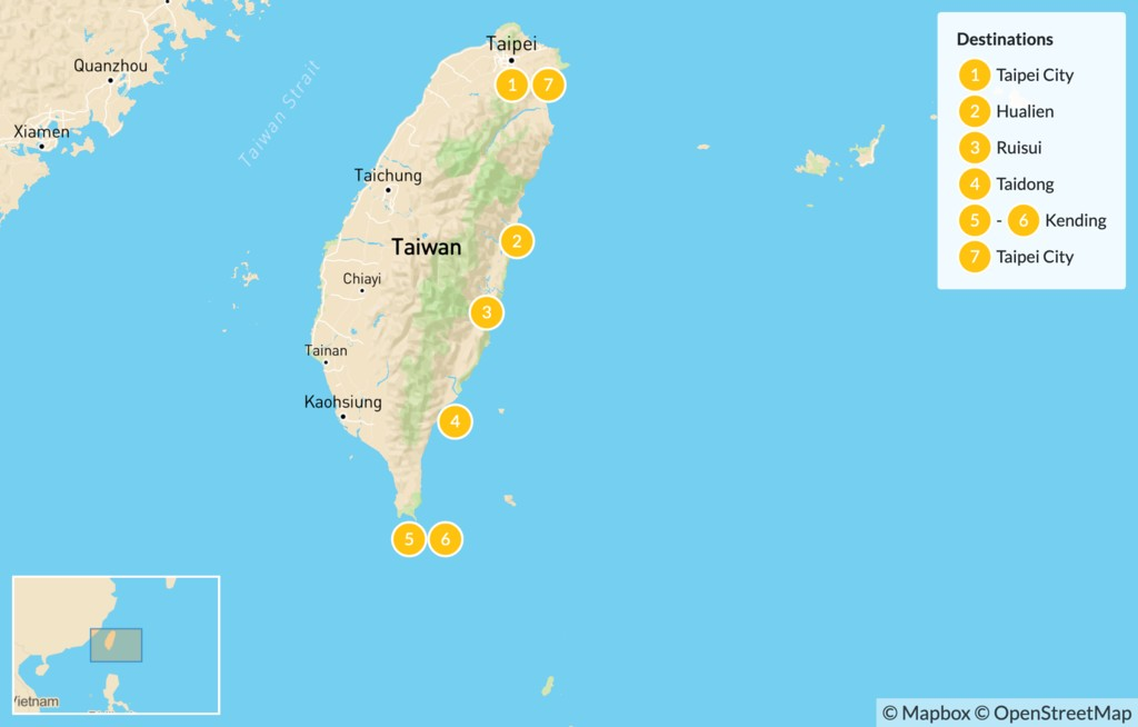 Map of Taiwan Nature & Bicycle Tour - 7 Days