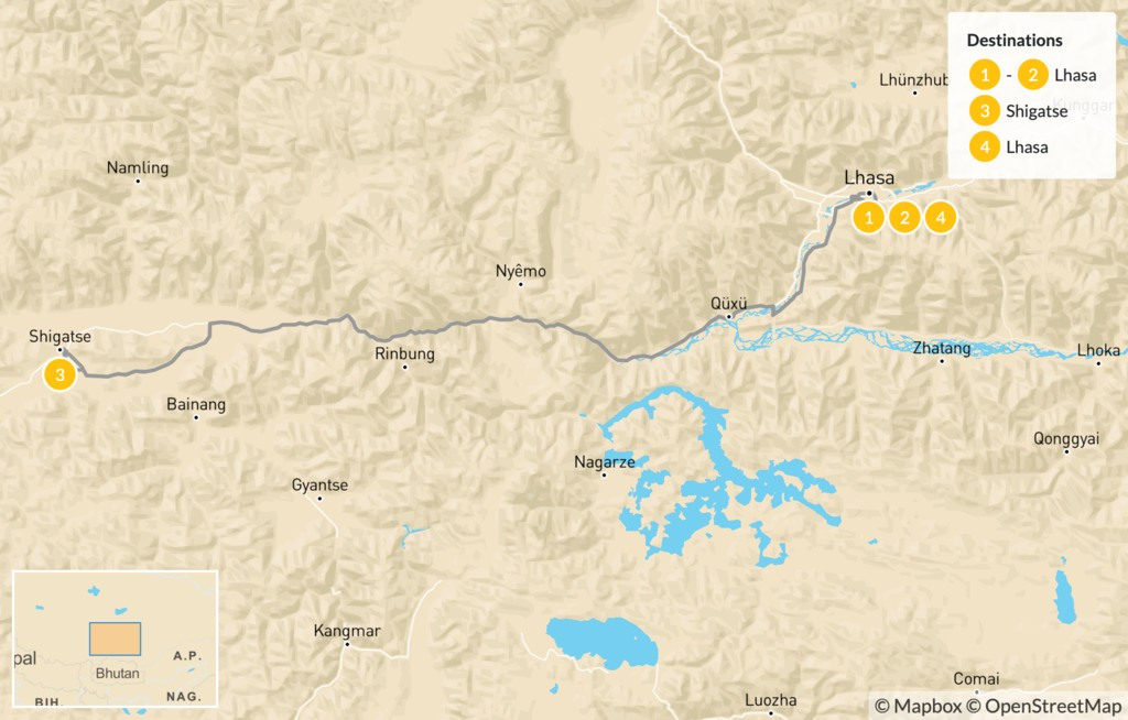 Map of Discover Holy Tibet - 5 Days