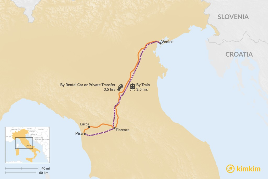 Map of How to Get from Venice to Pisa