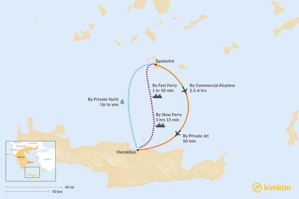 Map of How to Get from Santorini to Heraklion