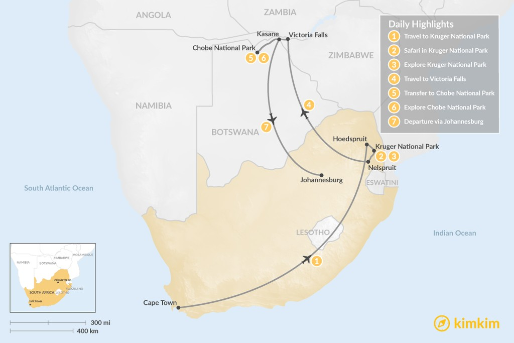 Map of Discover Southern Africa's Natural Wonders: Kruger, Victoria Falls, Chobe - 7 Days