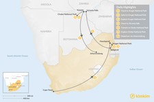 Map thumbnail of Discover Southern Africa's Natural Wonders: Kruger, Victoria Falls, Chobe - 7 Days