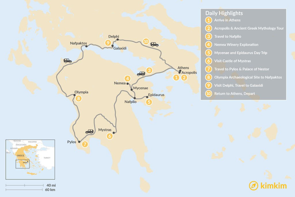 Map of Mainland Greece Road Trip - 10 Days
