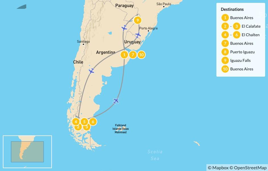 Map of Classic Argentina: El Calafate, El Chalten, & Iguazú - 11 Days