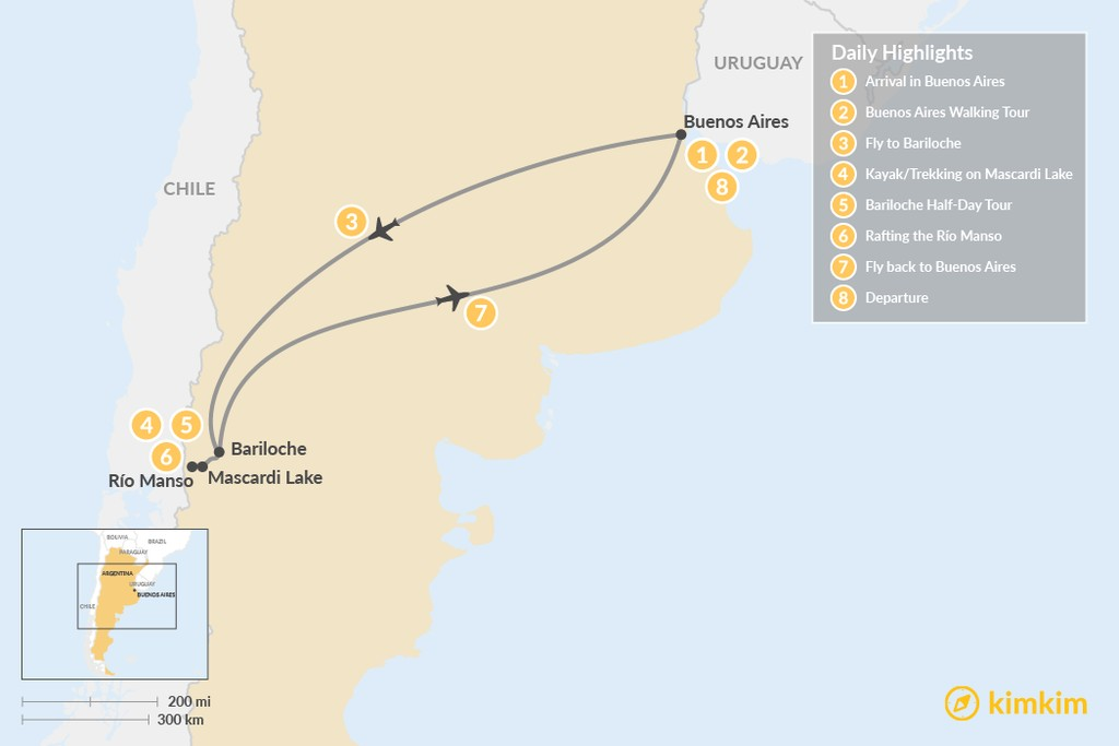 Map of Family Adventure in Patagonia: Buenos Aires & Bariloche - 8 Days
