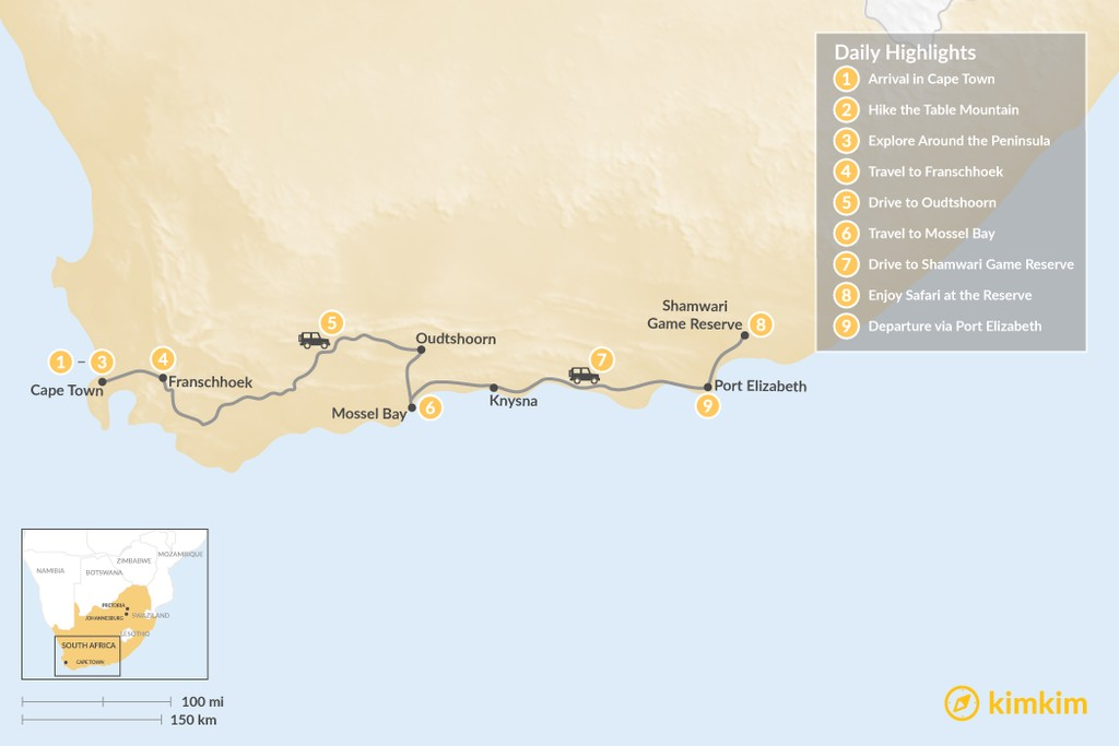 Map of South Africa Family Adventure: Cape Town, Winelands, Garden Route, Safari, & More - 9 Days