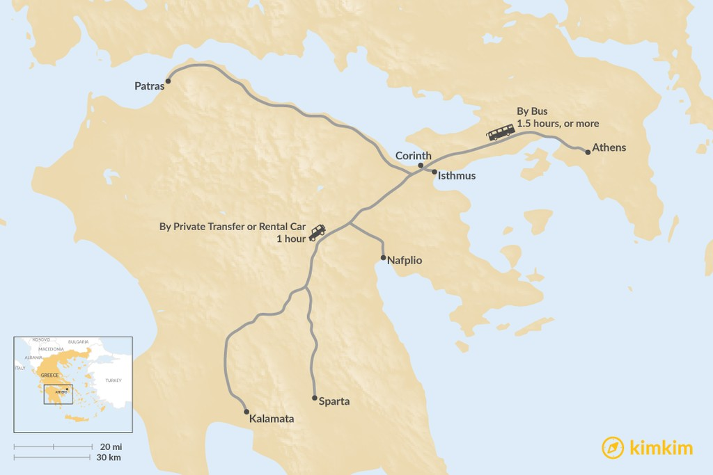 Map of How to Get from Athens to the Peloponnese Peninsula