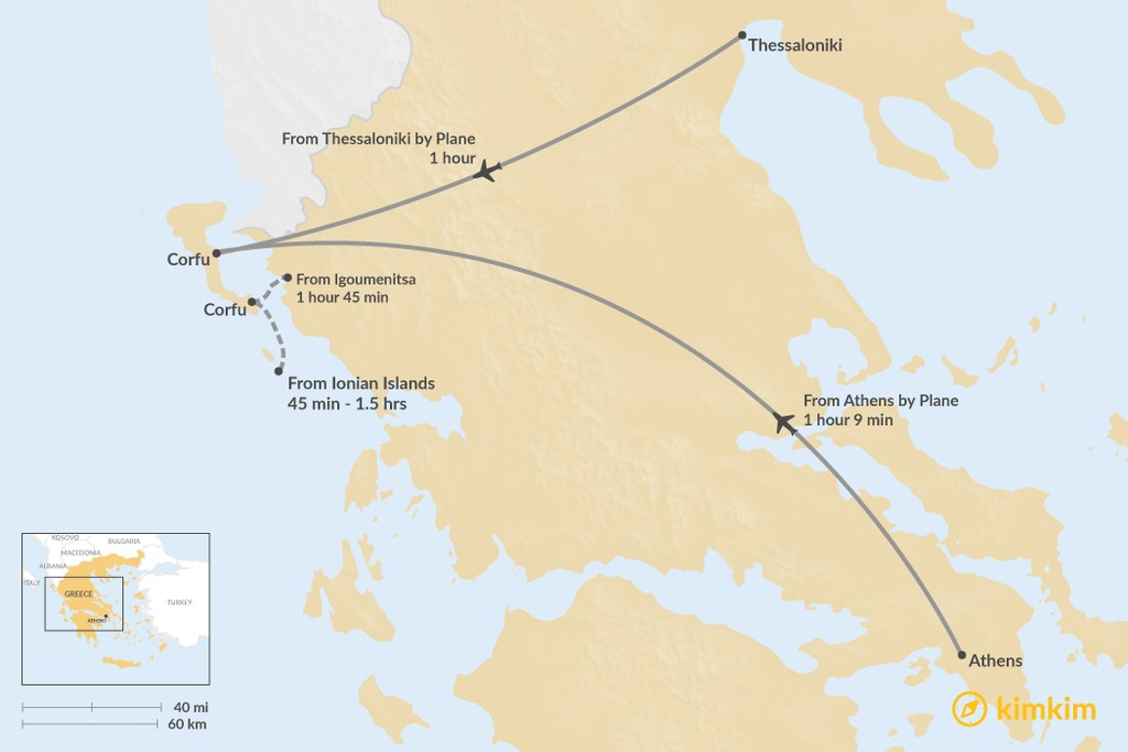 Map of How to Get to Corfu