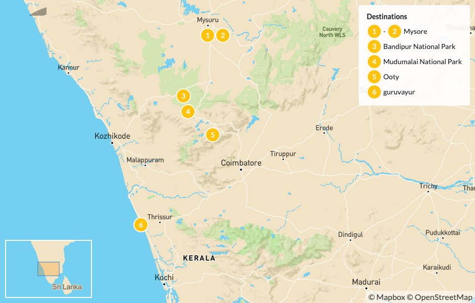 Map of Cycle Across Karnataka:  Mysore, Bandipur National Park, Mudumalai National Park, Ooty, and More - 7 Days