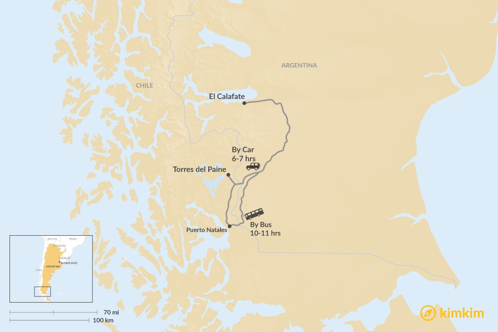 Map of How to Get from El Calafate to Torres del Paine