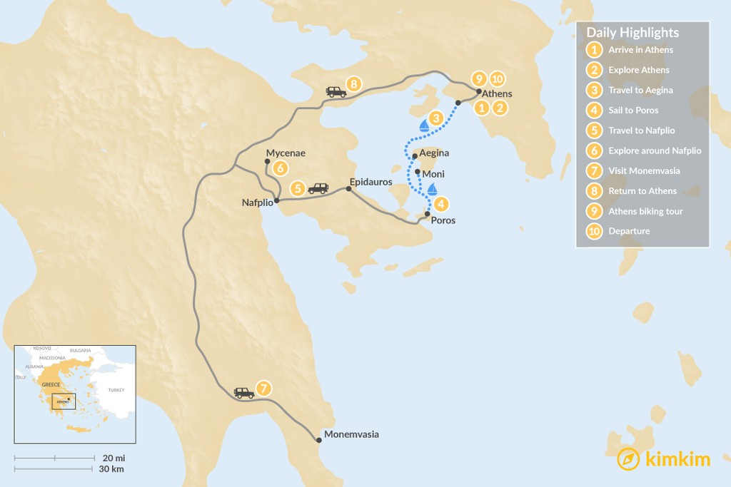 Map of Greek Mainland & Saronic Islands Sailing Trip - 10 Days