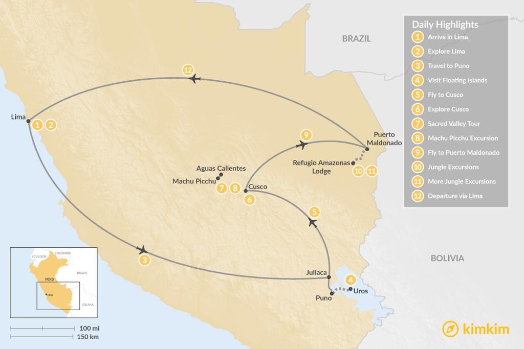 Map of Peru Highlights & Jungle Adventure - 12 Days