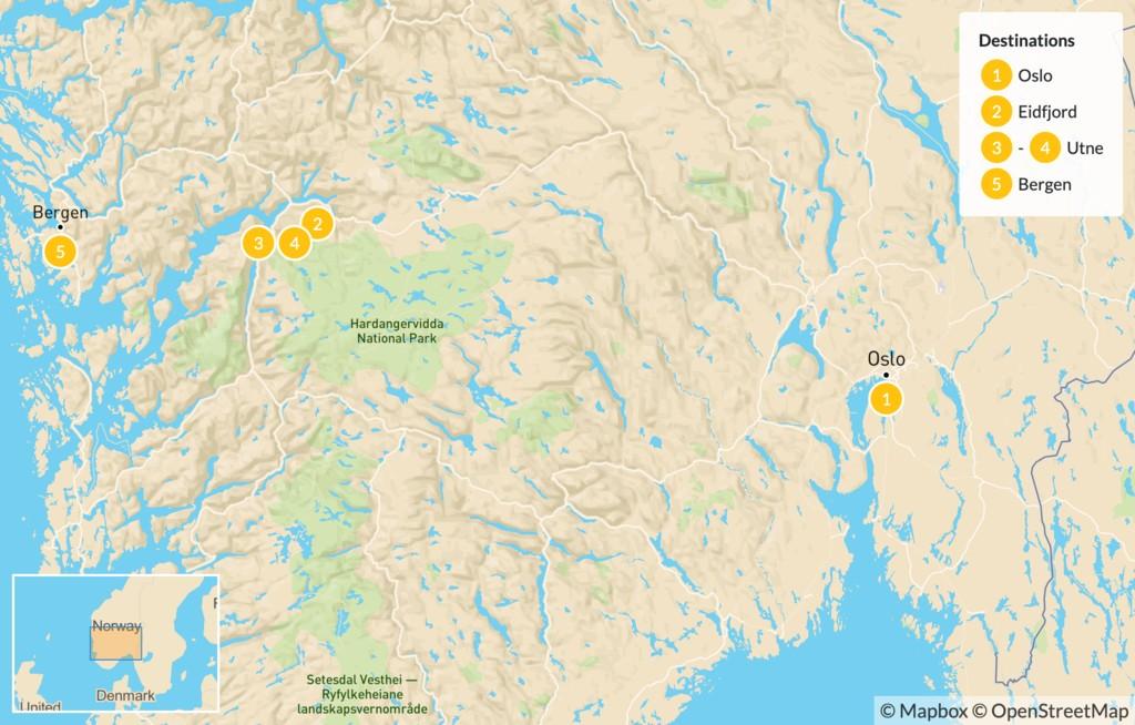 Map of Oslo to Bergen Summer Adventure - 6 Days