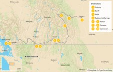 Map thumbnail of Canadian Rockies to Vancouver: Banff, Radium, Nelson, & Osoyoos - 11 Days