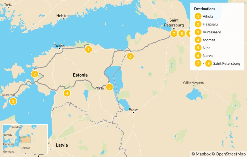 Map of From Estonia to St Petersburg - 10 Days