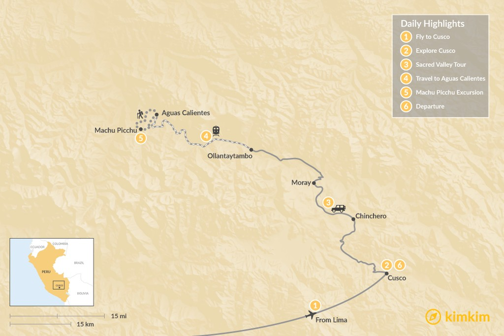 Map of Short Inca Trail, Sacred Valley, & Machu Picchu Adventure - 6 Days