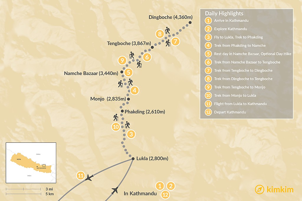 Map of Dingboche Trek - 12 Days