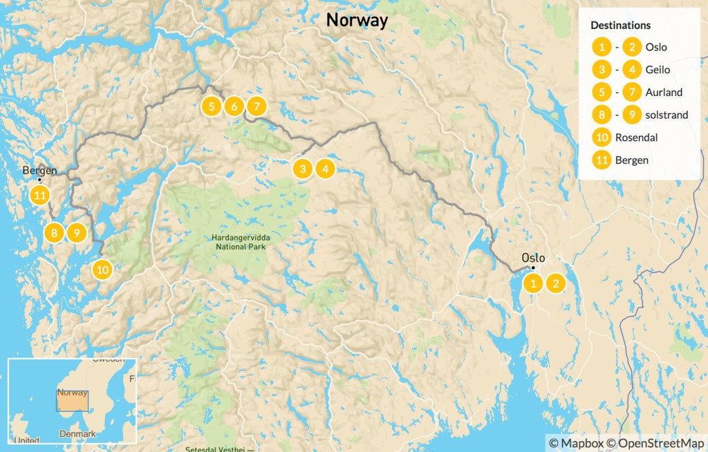 Map of Hiking & Relaxing in Western Norway - 12 Days