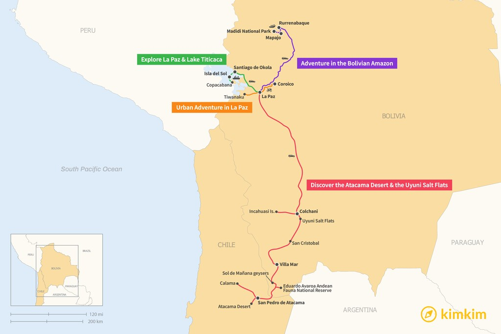 Map of 5 Days in Bolivia - 4 Unique Itineraries