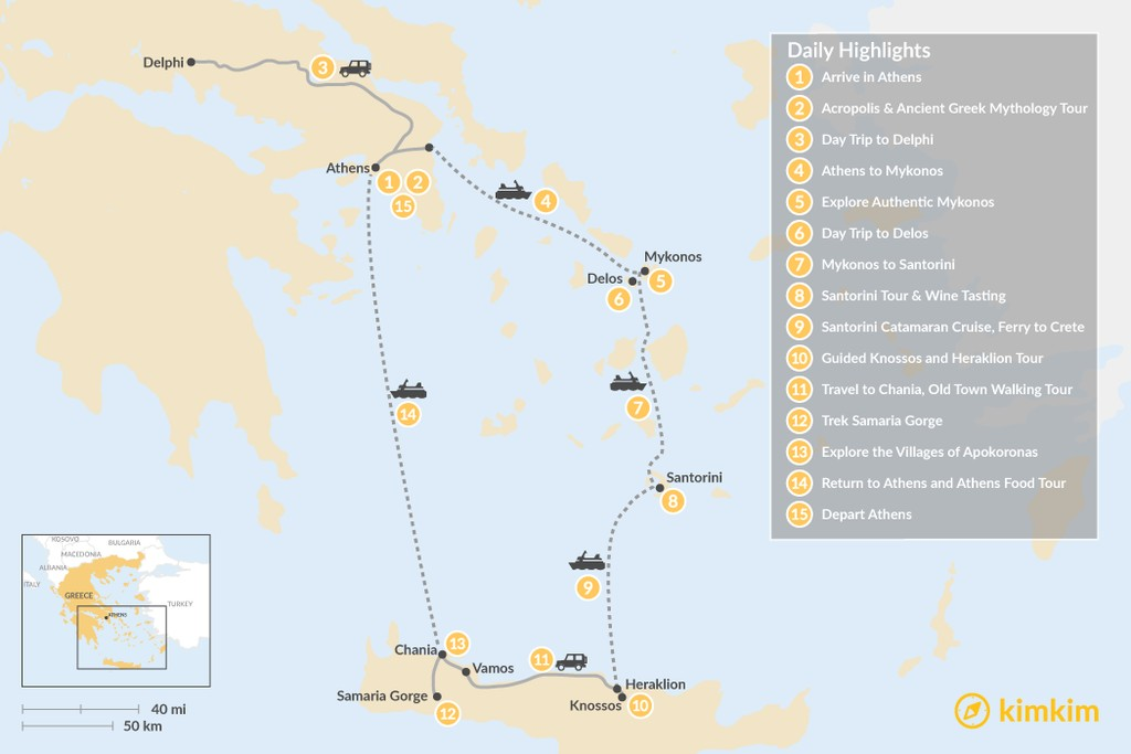 Map of Discover Athens, Mykonos, Santorini, and Crete - 15 Days