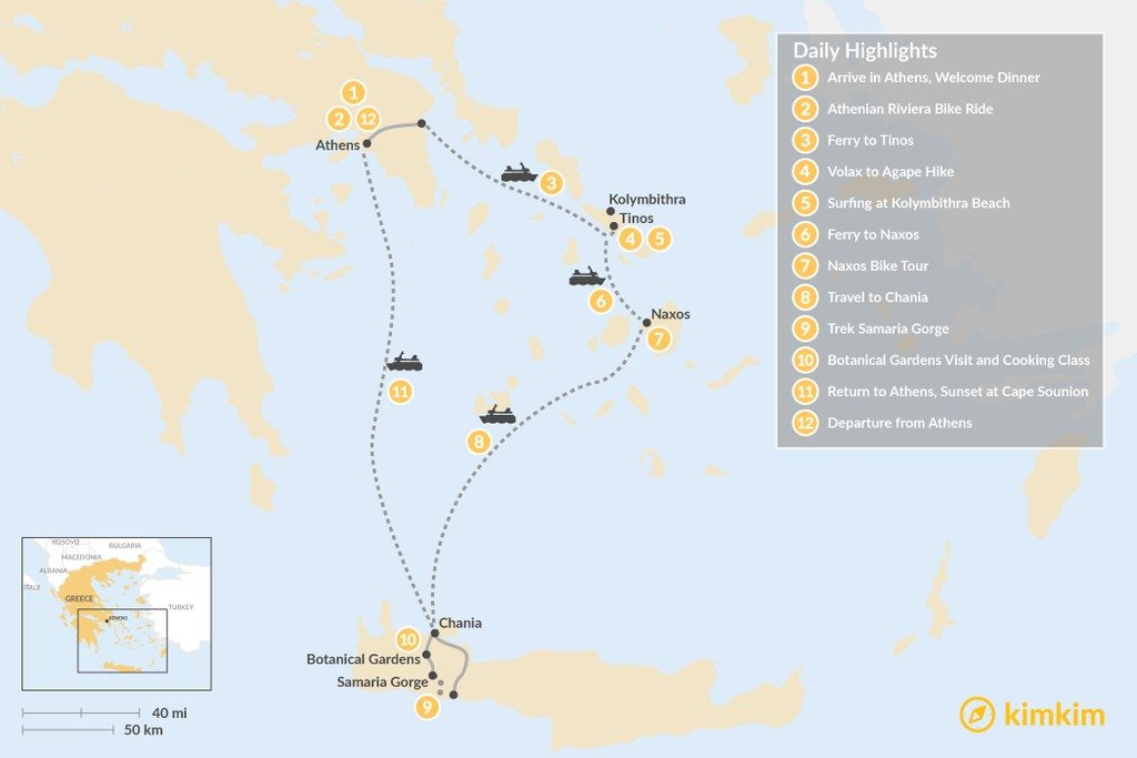 Map of Active Athens, Tinos, Naxos, and Crete - 12 Days