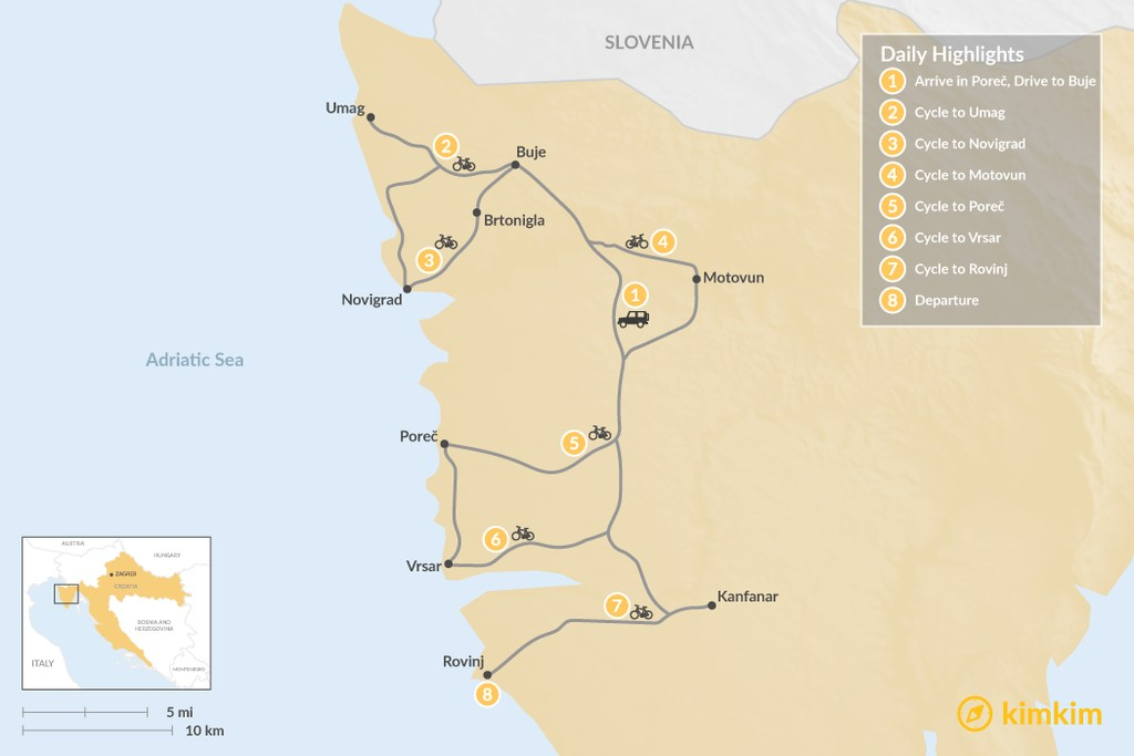 Map of Cycle the Wine Roads of Istria - 8 Days