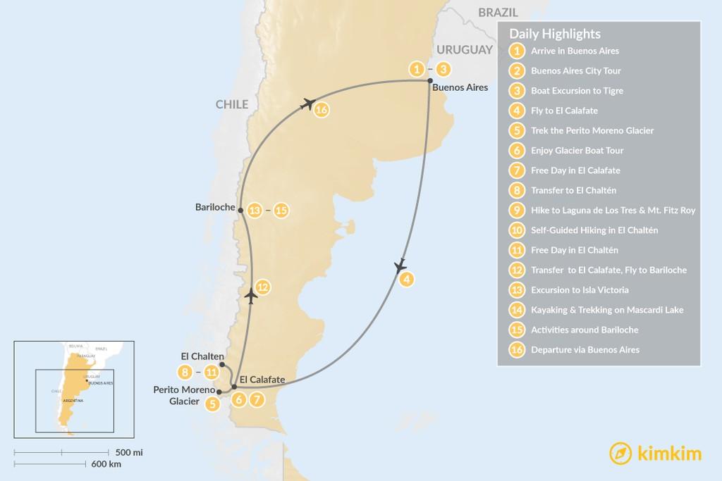 Map of Discover Argentine Patagonia: Buenos Aires, El Calafate, El Chaltén, Bariloche - 16 Days