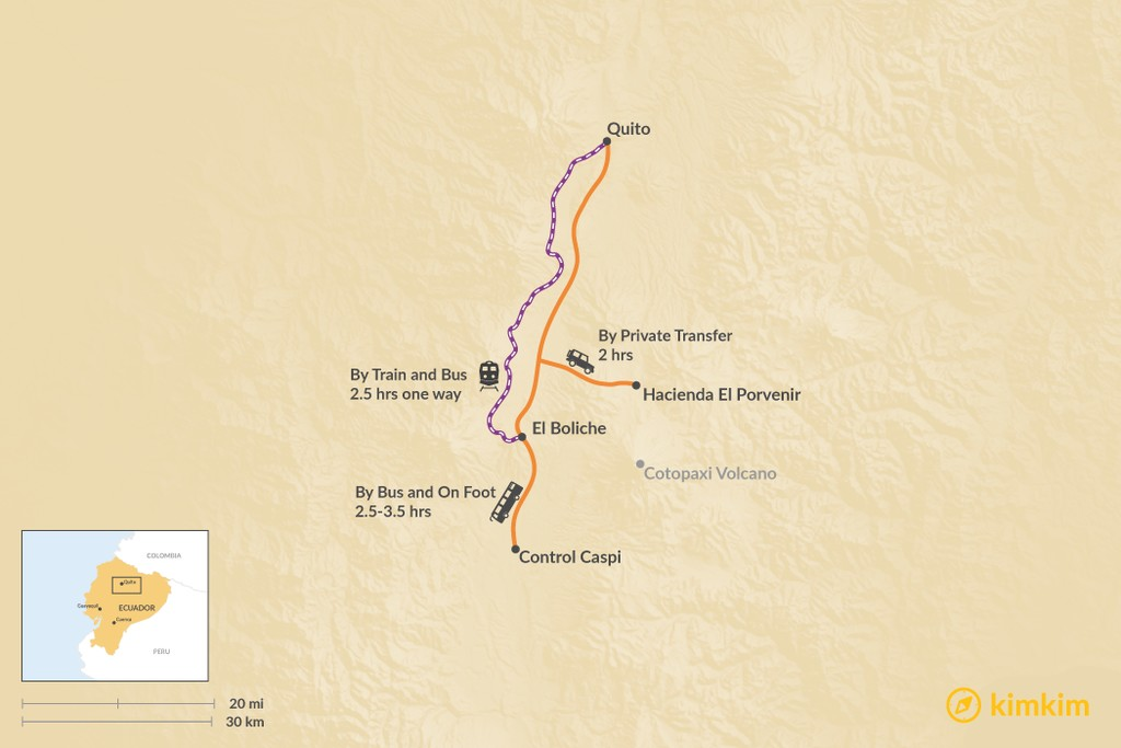 Map of How to Get from Quito to Cotopaxi National Park