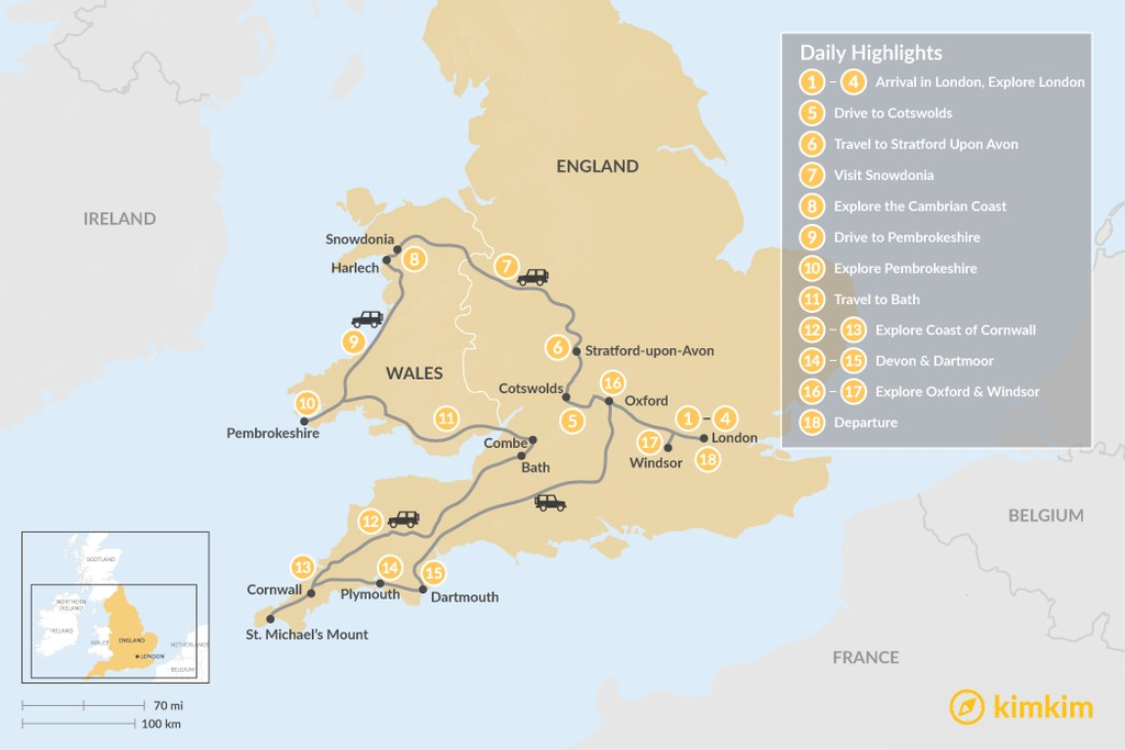 Map of Highlights of Wales and Southern England - 18 Days