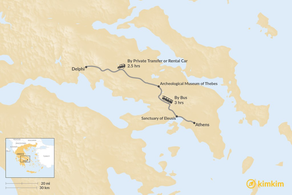 Map of How to Get from Athens to Delphi