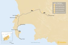 Map thumbnail of South Africa Family Adventure: Cape Town, Winelands, & More - 5 Days