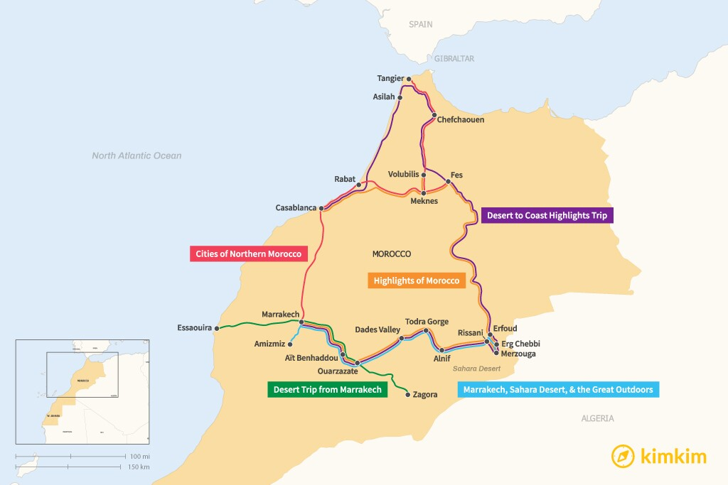 Map of 7 Days in Morocco - 5 Great Itineraries