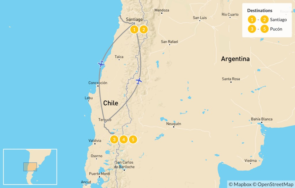 Map of Exploring Santiago, Valparaíso & The Lake District - 6 Days