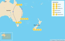 Map thumbnail of Australia & New Zealand Adventure: Sydney, Cairns, Melbourne & Queenstown - 16 Days