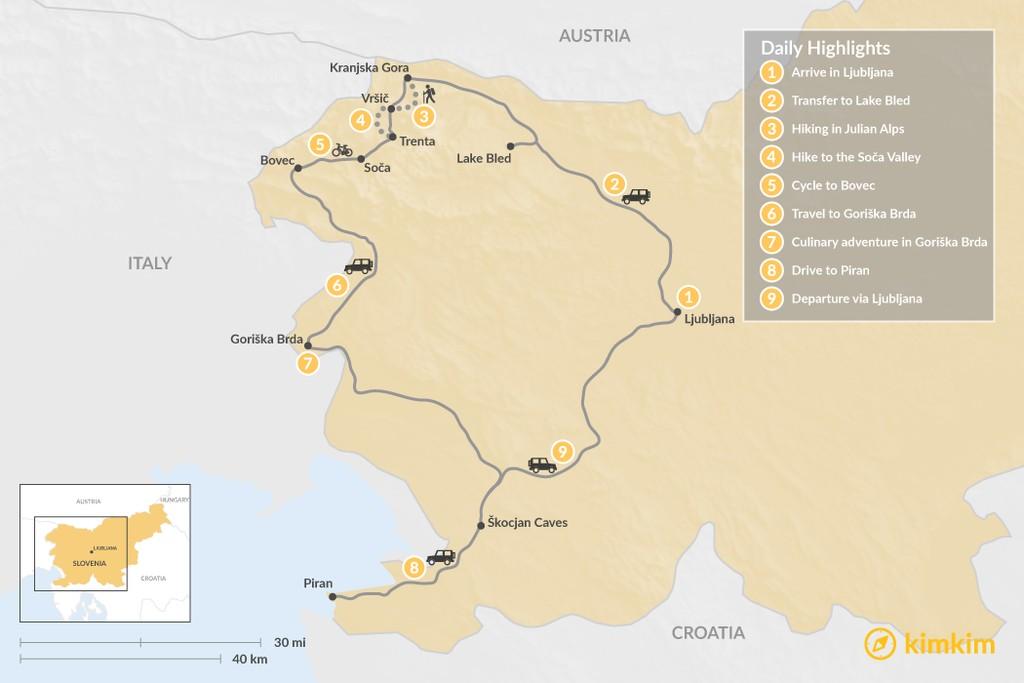 Map of Slovenian Hiking Adventure: Lake Bled, the Julian Alps,  Goriška Brda, and Piran - 9 Days