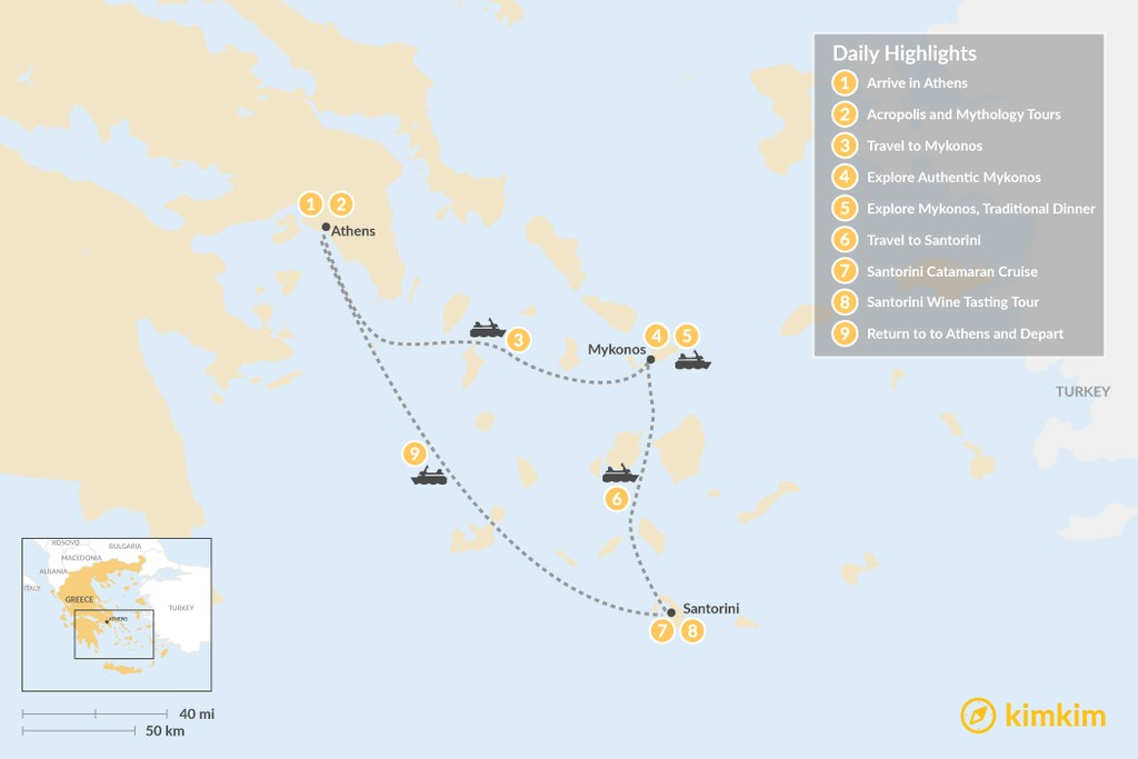Map of Discover Athens & the Cyclades - 9 Days