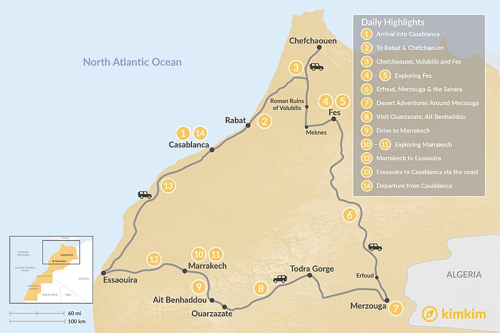 Map of Morocco Grand Tour: Casablanca to the Atlantic Coast - 14 Days
