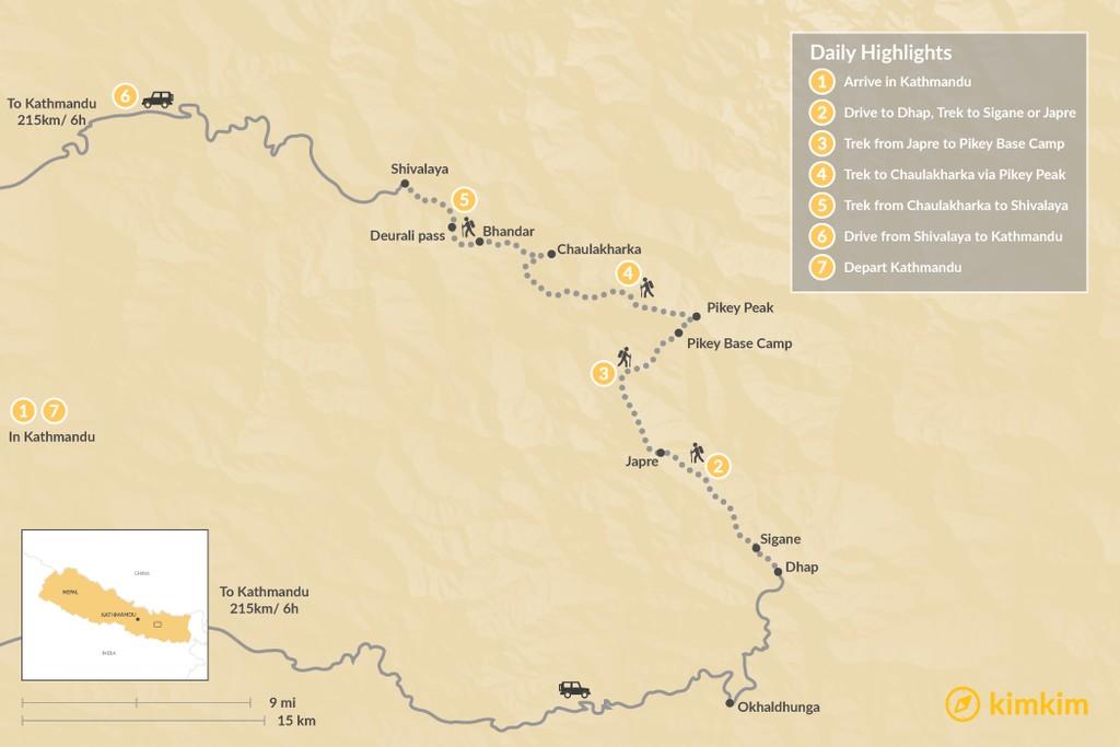 Map of Pikey Peak Trek: One of Nepal's Best Short Treks - 7 Days