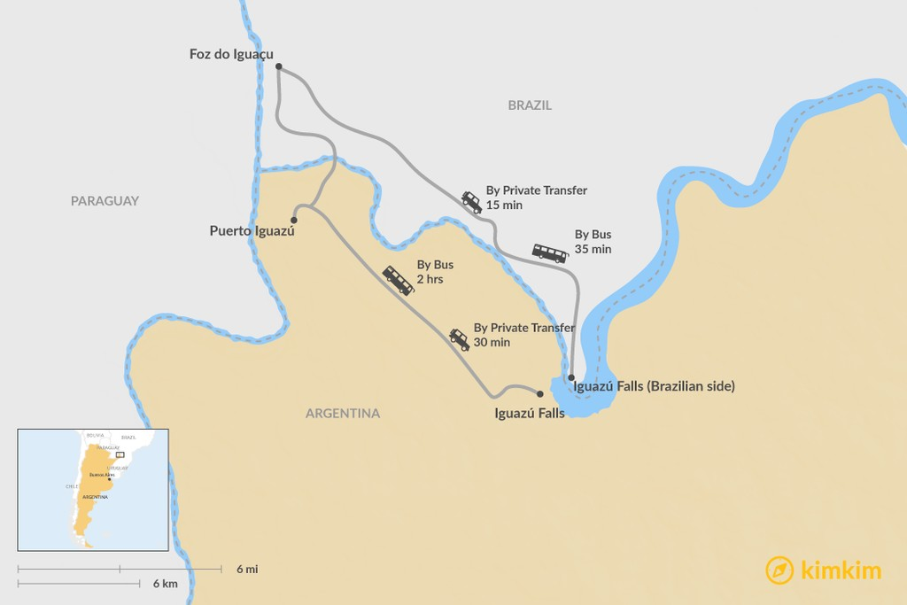 Map of How to Get from Iguazú Falls to Foz do Iguaçu