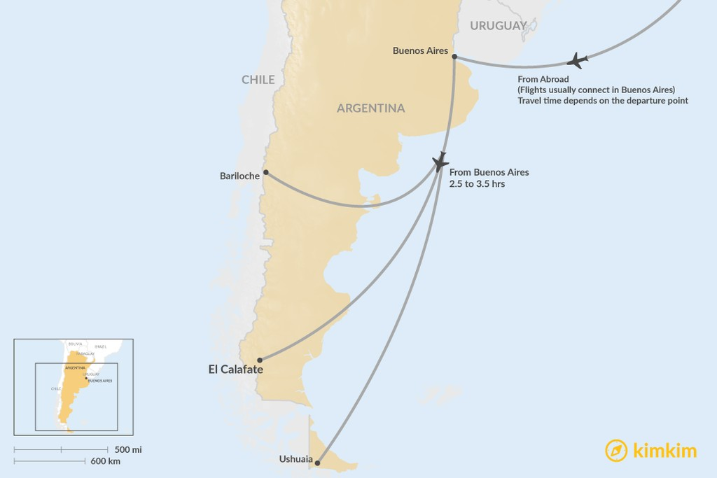 Map of How to Get to Patagonia