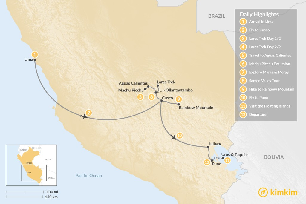 Map of Sacred Valley Trekking & Lake Titicaca Exploration - 12 Days