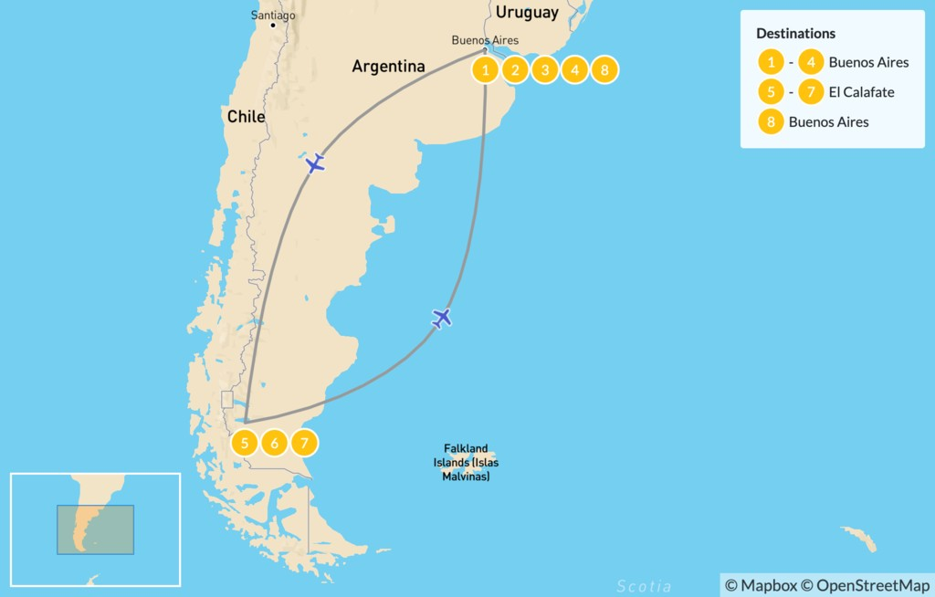 Map of Buenos Aires & Calafate Exploration - 9 Days