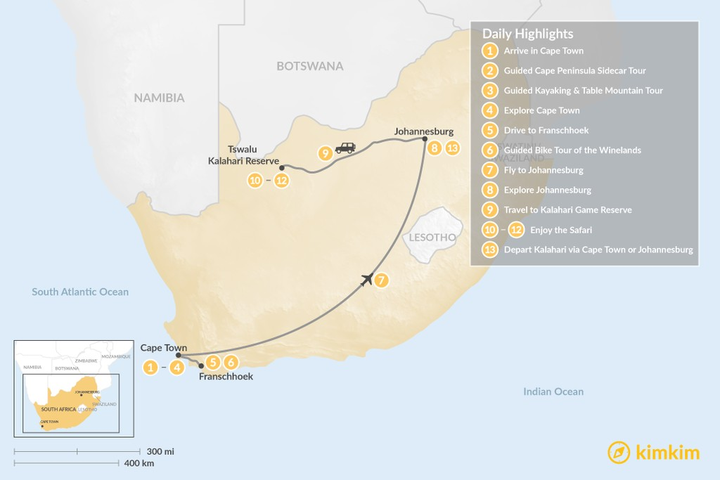Map of Discover South Africa: Cape Town, Winelands, Johannesburg, & Tswalu Kalahari - 13 Days